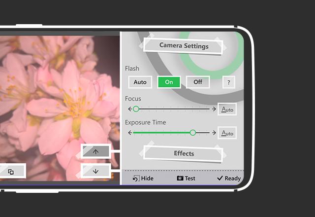 تنظیمات دوربین و افکت های برنامه